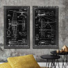 Vintage Black and White Fighter Jet Diagram 2 Piece Canvas Wall Art
