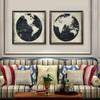 Black and White Pattern World Map Art