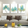 Blue Green Leaves Rolled Canvas Prints