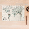 Vintage World Map Typography Canvas Digital Print