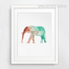Mint and Coral Elephant Print Canvas Geometric Artwork