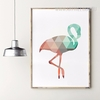 Mint and Coral Flamingo Bird Canvas Painting Print