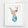 Mint and Coral Deer Head Animal Geometric Canvas Print