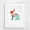 Mint and Coral Rabbit Animal Canvas Print Style Geometric Artwork