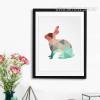 Mint and Coral Rabbit Animal Canvas Print Style Geometric Art
