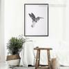 Grey Humming Bird Art Geometric Canvas Print