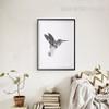 Grey Humming Bird Art Geometric Wall Print