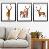 Nordic Abstract Brown Deer Family Animals Design Scandinavian Art