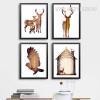 Nordic Abstract Deer Family Animals Bird Design Scandinavian Art