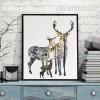 Nordic Deer Animals in Forest Digital Painting Scandinavian Art