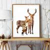 Nordic Brown Deer Animals in Forest Digital Painting Scandinavian Art