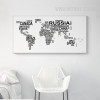 Modern World Map Black White Letters Large Wall Art