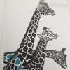Nordic Giraffe Family Animal Art Canvas Print