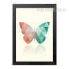 Mint and Coral Butterfly Geometric Triangles Design Minimal Wall Art
