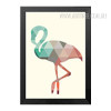 Mint and Coral Flamingo Bird Geometric Triangles Design Minimal Wall Art