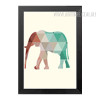 Mint and Coral Elephant Animal Geometric Triangles Design Minimal Wall Art