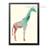 Mint and Coral Giraffe Animal Geometric Triangles Design Minimal Wall Art