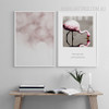 Reflection Pink Flamingo Bird Words Bubbles Bedroom Decor Wall Print