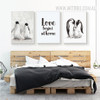 Black and White Penguin Family Love Begins at Home Quote Print
