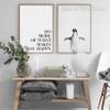 Black and White Do More Penguin Bird Digital Print