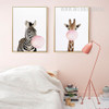Lovely Giraffe Zebra Animals Blowing Bubbles 2 Piece Canvas Prints