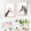 Long Giraffe Zebra Animals Blowing Bubbles 2 Piece Canvas Prints