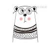 Nordic Cute Animal Bear Design Scandinavian Art