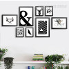 Black and White Ampercent Abstract Fish Tree Crow Deer Antlers Canvas Prints