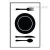 Black and White Plate Spoon on Table Print
