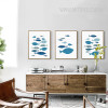 Blue Fishes Nordic Canvas Prints