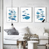 Blue Fishes Nordic Canvas Wall Art Prints