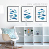 Blue Fishes Nordic Canvas Wall Art Set
