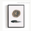 Abstract Beautiful Feather Nest Print Vintage Canvas