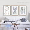 Retro Tribal Feathers Deer Prints Vintage Art