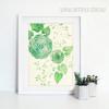 Abstract Geometric Green Flowers Botanical Art