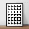 Minimalist Abstract Cross Pattern Nordic Black and White Art