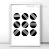 Abstract Minimalist Black and White Balls Art