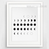 Abstract Minimalist Black and White Rising Moons Art