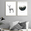 Wild Deer Deep Forest Design Canvas Prints