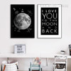 Moon I Love You To The Moon and Back Quote Design Black and White Canvas Art