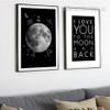 Moon I Love You To The Moon and Back Quote Design Black and White Prints