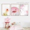 Pink Rose Flower Flamingo Bird Leaf Art Prints