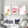 Pink Rose Flower Flamingo Bird Leaf Canvas Wall Art