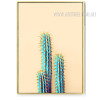 Abstract Green Long Cactus Plant Watercolor Print