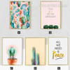 Green Cactus All We Need Is Peace Find Joy in the Ordinary Quote Canvas Prints