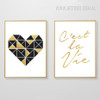 Geometric Brown Heart Cestla Vie Golden Words Canvas Prints