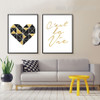 Geometric Brown Heart Cestla Vie Golden Words Wall Prints