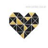 Geometric Brown Heart Home Decor Print