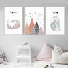 Lovely Fox Bird Animated Modern Animal Quotes Painting Print for Kids Room Decor