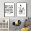 Think Happy Inspirational Quotes Painting Canvas Print for Kids Wall Art Decor